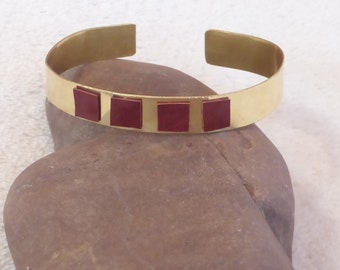 Bracelet brass and 4 square leather (leather to choose color)