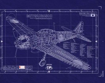 MITSUBISHI A6M (ZERO) WW2 Aircraft /Blueprint - LARGE Engineering Drawing