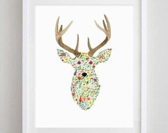 Deer Floral Watercolor Art Print