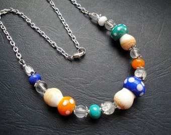 Colorful mushrooms necklace