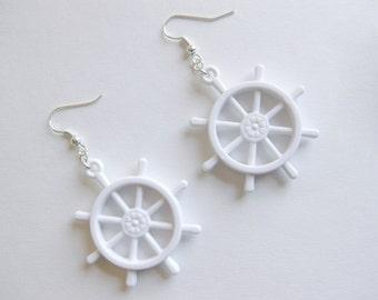 White Ship's Wheel Earrings - Nautical Jewelry Nautical Earrings Kawaii Jewelry Kawaii Fashion Fairy Kei Earrings Kawaii Nautical JFashion