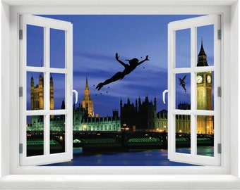 Window with a View Disney Peter Pan and Tinkerbell over London Wall Mural