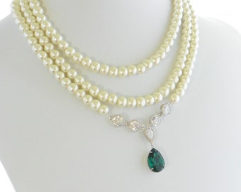 Art Deco Wedding Necklace, Statement Wedding Necklace, Bridal Statement Necklace, Pearl Wedding Necklace, Cubic Zirconia Wedding, Swarovski