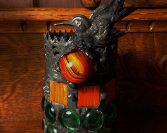 Bird and Berry Stained Glass Mosaic Candle Holder - Orange and Green
