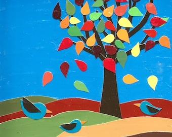 Autumn, tree, whimsical, gift, handmade, leaves, thanksgiving, home decor, framed art, seasonal, folk art