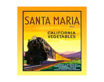 Small Journal - Santa Maria Vegetables - Fruit Crate Art Print Cover