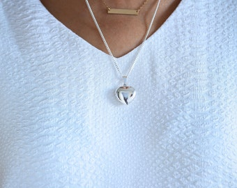 Solid 925 Sterling Heart Locket Necklace, 2 Personalized charms Included, Medium Size Photo locket. Graduation Gift. R-18