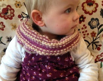 Hand Knitted cream/purple Toddler Cowl/ Headband.