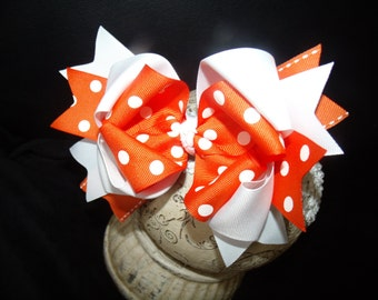 Hair bowTriple Layered Hairbow Orange and WhiteBoutique Bow and Interchangeable Headband