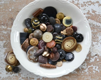 Vintage Button Lot - Black, Brown, Gold and Tan Set Bulk Sewing Collection Unique Mix 108