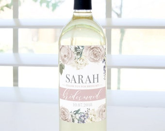 Thank You for Being My Bridesmaid Custom Wine Label (Romantic Garden with Wedding Date) - Bridesmaid, Maid of Honor, Matron of Honor