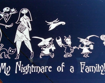 Nightmare Before Christmas Custom Family Decal Wall Car Window Jack  Skellington Sally