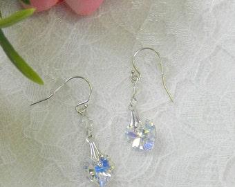 Swarovski Heart earrings,Swarovski Crystal earrings,Heart jewelry,Leverback earrings,Clip on earrings - Swarovski Heart Earrings