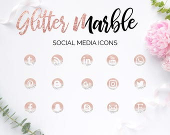 Social Media Icons, Marble Glitter Icons, Glam Design, Social Media Buttons, Rose Buttons, Social Icons, Blog Icons, Website Icons, Branding