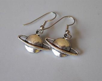 Saturn Earrings- Silver Planet Earrings, Saturn Dangle Earrings, Silver Charm Earrings