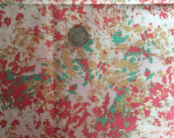 Floral fabric, flower floral pink green print, cotton fabric