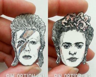 David Bowie/ Frida Kahlo/Ziggy Stardust/Pin/Illustrated Pin