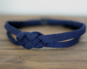 Sailor Knot Headband - Navy Blue Cotton Jersey Knit for Baby, Toddler, Girl, Adult