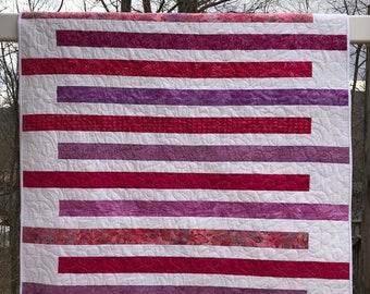 Pink and Purple Batik Striped Quilt