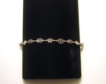 """Sterling Silver Wire Wrapped Bracelet With Heart Shaped Toggle Clasp - 8"""" Long"""