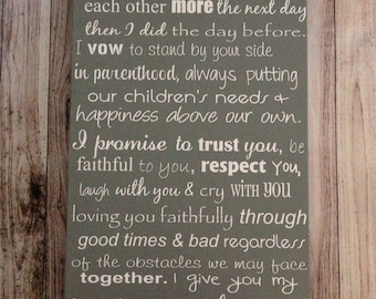 """Custom Wedding Vows Wood Sign 12"""" x 24"""" Personalized Wedding Vows Personalized Wedding Anniversary Gift"""