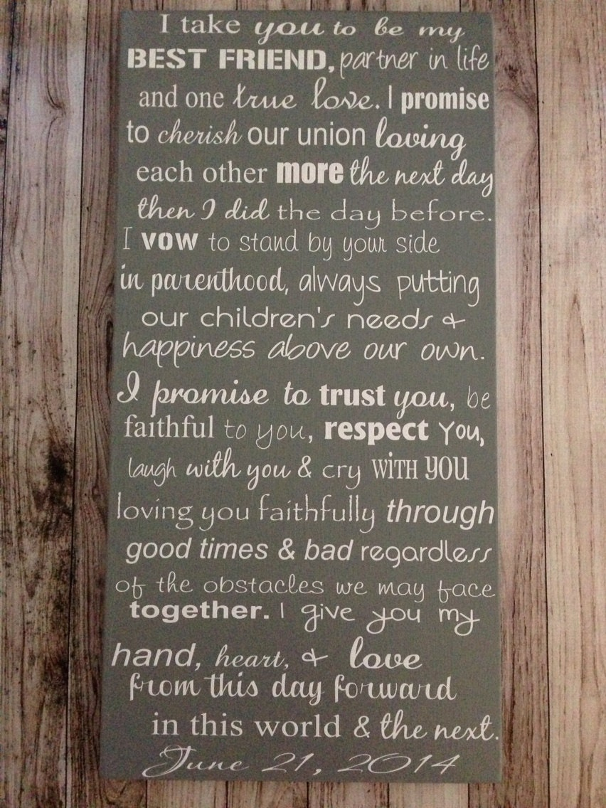 Custom Wedding Vows Wood Sign 12 X 24 Personalized