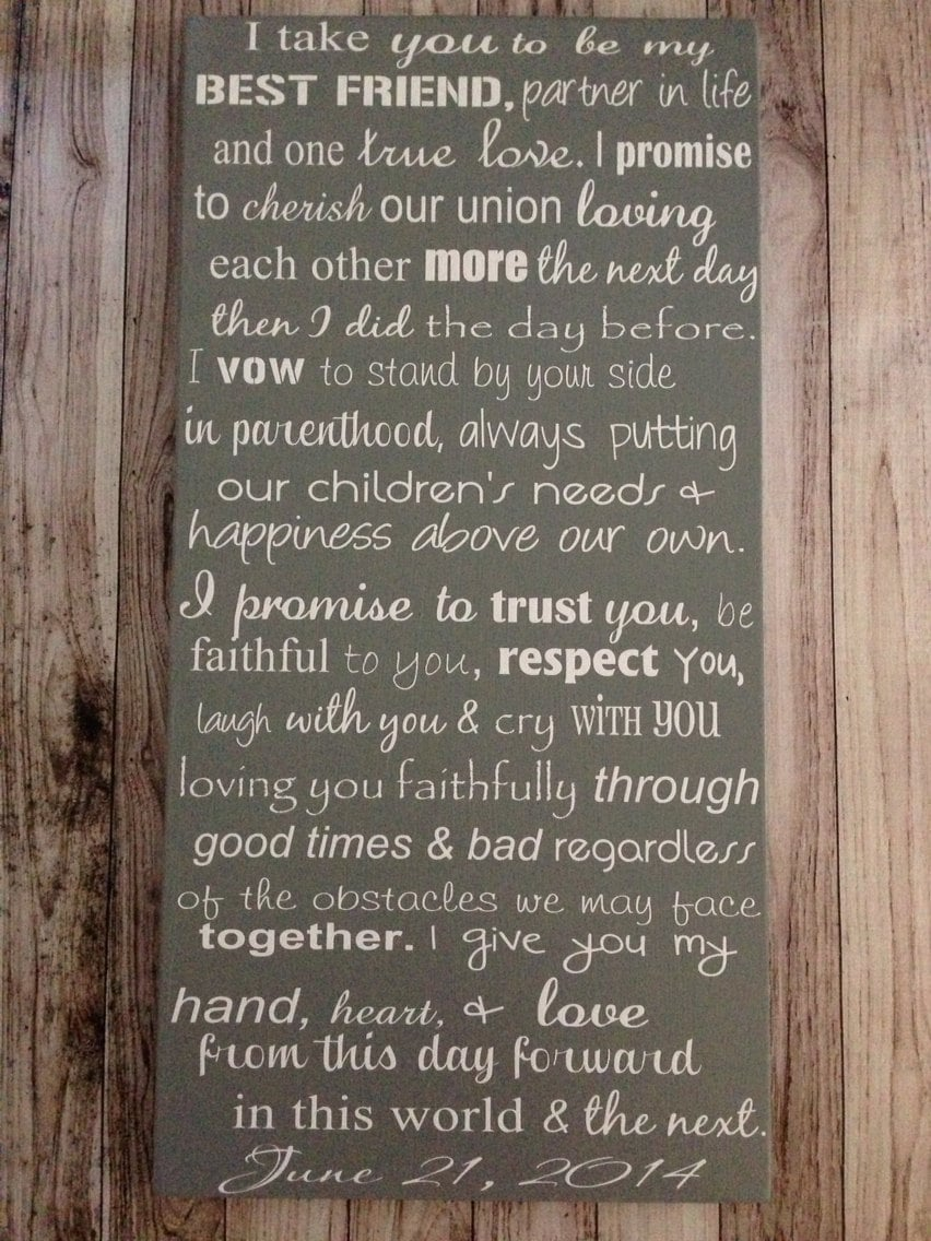 Custom wedding vows wood sign 12 x 24 personalized zoom junglespirit Images