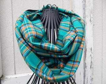 Ready to Ship Turquoise Plaid Scarf Green Scarf Ladies Jade Plaid Flannel Scarf Girls Plaid Flannel Scarf
