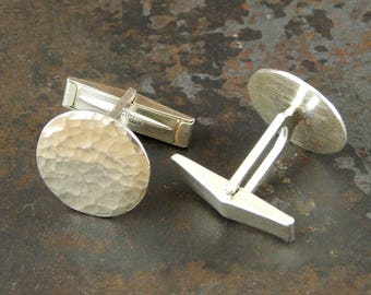 Silver cufflinks, sterling silver cuff links, Ready To Ship! Hammered shiny finish, round cufflinks, gifts for men.