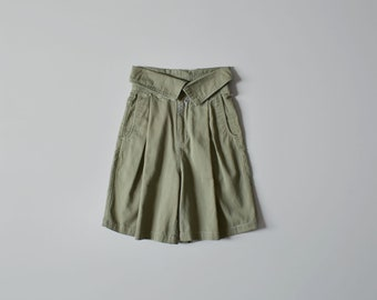high waisted shorts / vintage sage cotton shorts / womens XS