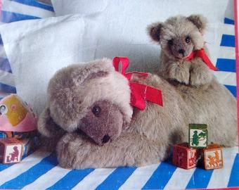 1980s Mother & Baby Bear Stuffed Animal Pattern Butterick 4423 Our Sleepytime Bears Rachel Wallis design