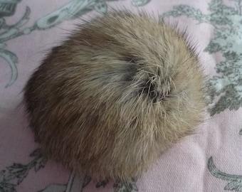 Tassel beige angora fur - 6 cm diameter