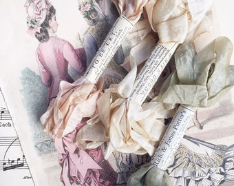 Marie antoinette silk ribbon set. hand dyed silk ribbons for scrapbooking, embroidery, craft and sewing ribbons. vintage colored ribbons.