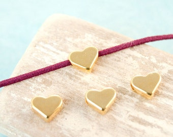 10x Metal bead Heart 6, 5mm cross-drilled gilded #3951