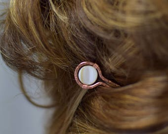 Mother of Pearl and Hammered Copper Hair Pin/Hair Jewelry