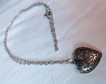 SALE...Signed Vintage Sterling Silver Handmade Heart Pendant with SS chain.