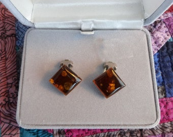 Vintage Faux Amber Clip-on Earrings