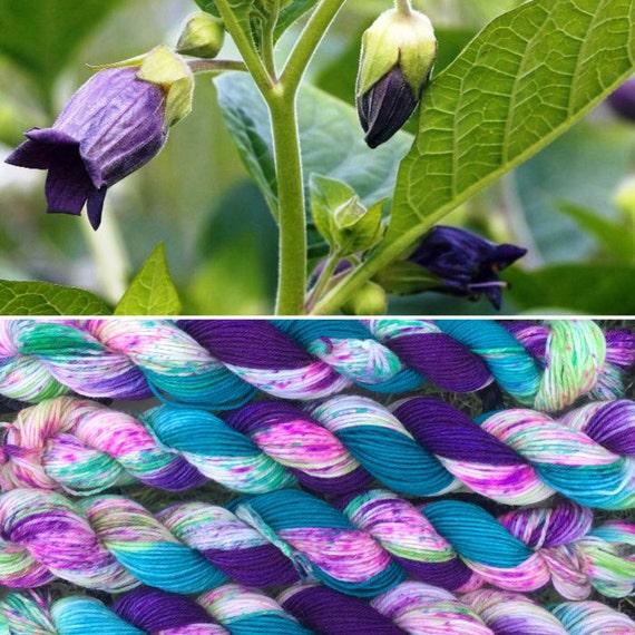 Deadly Nightshade 20g, purple green speckle dyed 75/25 merino nylon platinum sock indie yarn miniskein