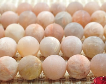 47 pcs of Natural Sunstone matte round beads in 8mm