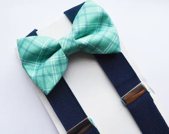 Mint plaid Bow Tie and Navy Suspender Set !! for toddler/ boy/ baby/Teen/Adult/Men