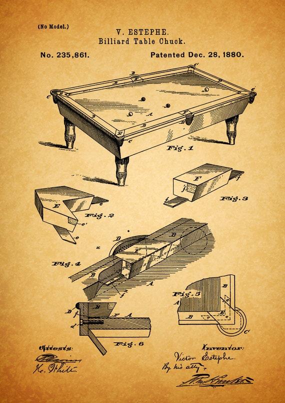 Pool table billiard table 1880 print A4 print patent