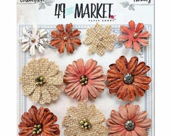 49 & Market Rustic Melon and Burlap Bloom - 49 And Market Rustic Melon and Burlap Bloom - Scrapbook Flowers - Embellishment Flowers - 1-024