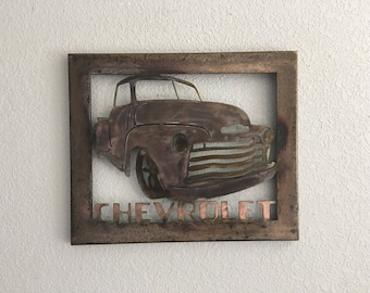 Metal Truck , 1947 Thru 1953 Chevy, Metal Wall Art   Home Decor   Old