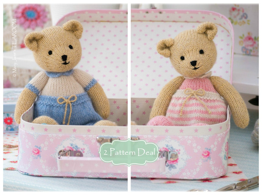 2 Teddy Bear Knitting Pattern Deal/ TEAROOM Girl and Boy Bear Toy ...