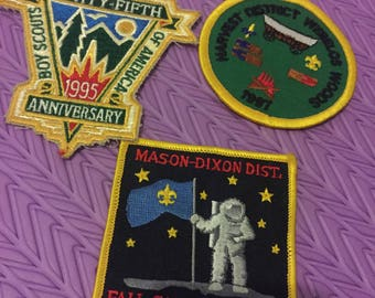 Vintage 1990s Boys Scout Patches Set of Three