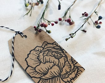 Peony gift tag, set of 6, floral Kraft gift tag, minimal gift wrapping, packaging, wedding favor