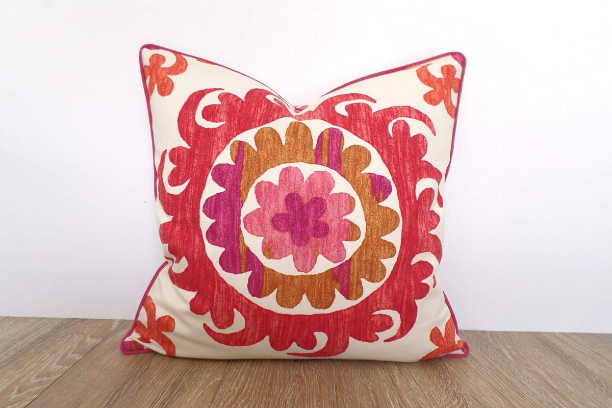 Pink Ikat Pillow Case 20x20 Flower Cushion Cover Modern