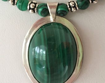 Sterling and Malachite Pendant, on Beaded Necklace