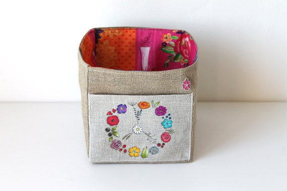Small square PEACE illustrated linen basket
