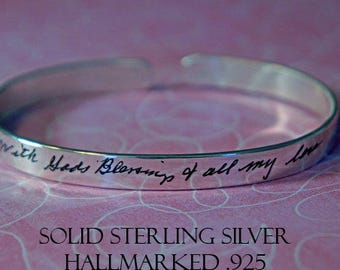 Personalized bracelet, personalized quote, handwriting bracelet, handwriting jewelry, memorial gift, quote bracelet, silver cuff bracelet,